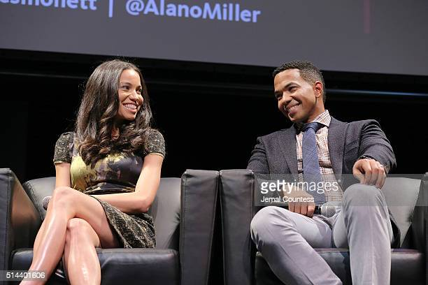 Actors Jurnee SmollettBell and Actor Alano Miller speak during a panal discussion during WGN America Presents the New York Screening Of 'Underground'...