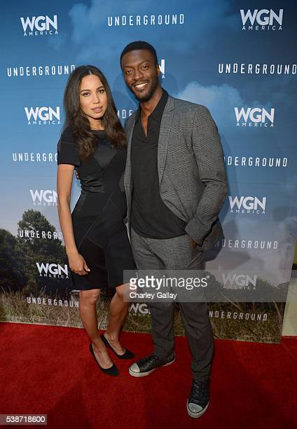 Actors Jurnee SmollettBell and Aldis Hodge attend a screening of WGN America's 'Underground' as part of the Awardsline Screening Series at Landmark...
