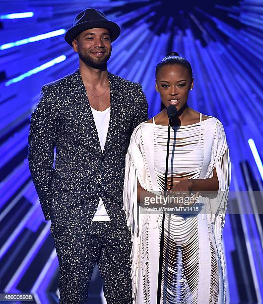 Actors Jussie Smollett and Serayah speak onstage during the 2015 MTV Video Music Awards at Microsoft Theater on August 30 2015 in Los Angeles...
