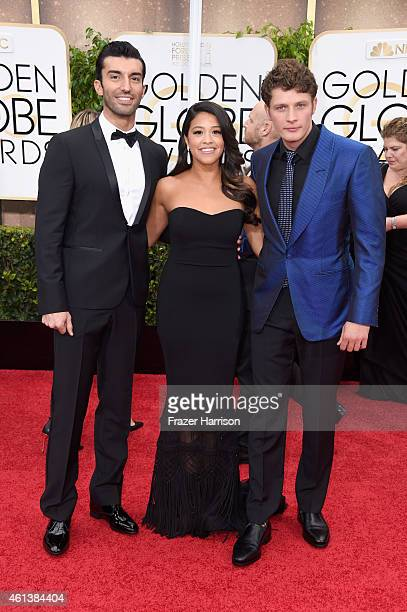 Actors Justin Baldoni Gina Rodriguez and Brett Dier attend the 72nd Annual Golden Globe Awards at The Beverly Hilton Hotel on January 11 2015 in...