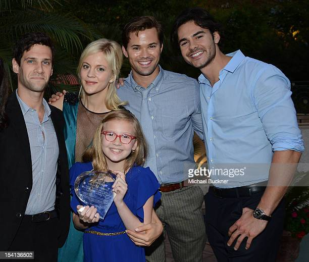 Actors Justin Bartha Georgia King Bebe Wood Andrew Rannells and Jayson Blair attend PFLAG National's 2012 Southern California Event honoring NBC's...
