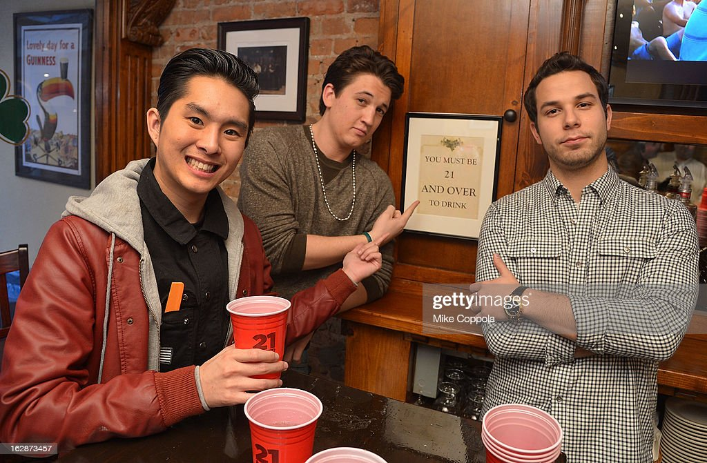 Actors <a gi-track='captionPersonalityLinkClicked' href=/galleries/search?phrase=Justin+Chon&family=editorial&specificpeople=630186 ng-click='$event.stopPropagation()'>Justin Chon</a>, <a gi-track='captionPersonalityLinkClicked' href=/galleries/search?phrase=Miles+Teller&family=editorial&specificpeople=6471673 ng-click='$event.stopPropagation()'>Miles Teller</a>, and <a gi-track='captionPersonalityLinkClicked' href=/galleries/search?phrase=Skylar+Astin&family=editorial&specificpeople=4463360 ng-click='$event.stopPropagation()'>Skylar Astin</a> attend the '21 & Over' Press Call at Playwrights Tavern on February 28, 2013 in New York City.