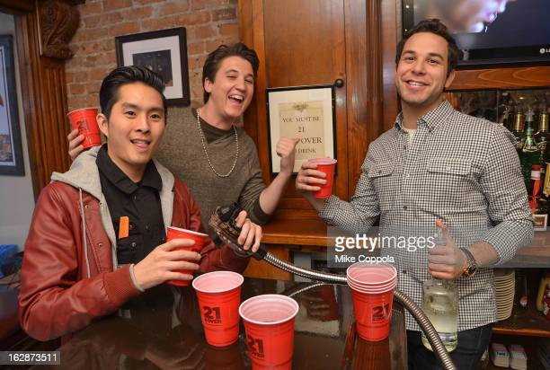 Actors Justin Chon Miles Teller and Skylar Astin attend the '21 Over' Press Call at Playwrights Tavern on February 28 2013 in New York City