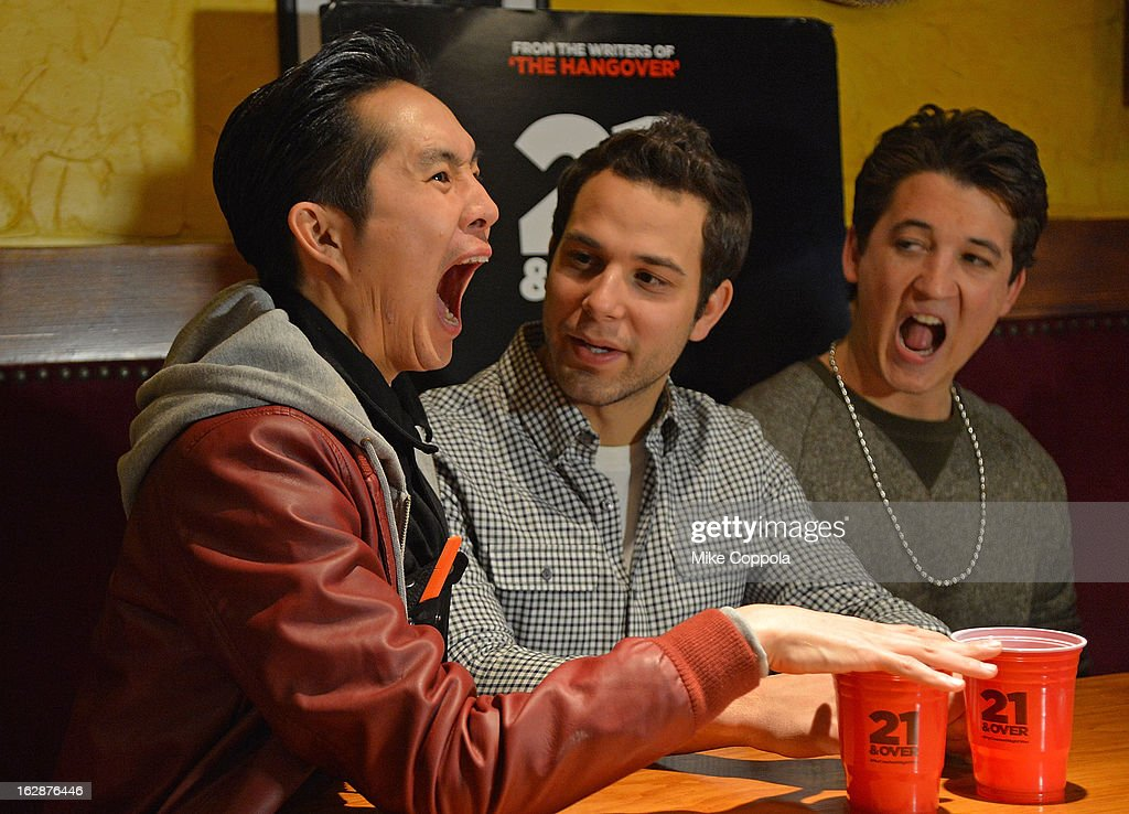 Actors Justin Chon, Skylar Astin, and Miles Teller attend the '21 & Over' Press Call at Playwrights Tavern on February 28, 2013 in New York City.