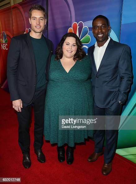 Actors Justin Hartley Chrissy Metz and Sterling K Brown attend the 2017 NBCUniversal Winter Press Tour Day 2 at the Langham Hotel on January 18 2017...