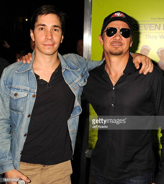 Actors Justin Long and Jeremy Renner arrive at the Los Angeles premiere of 'Seven Psychopaths' at Mann Bruin Theatre on October 1 2012 in Westwood...