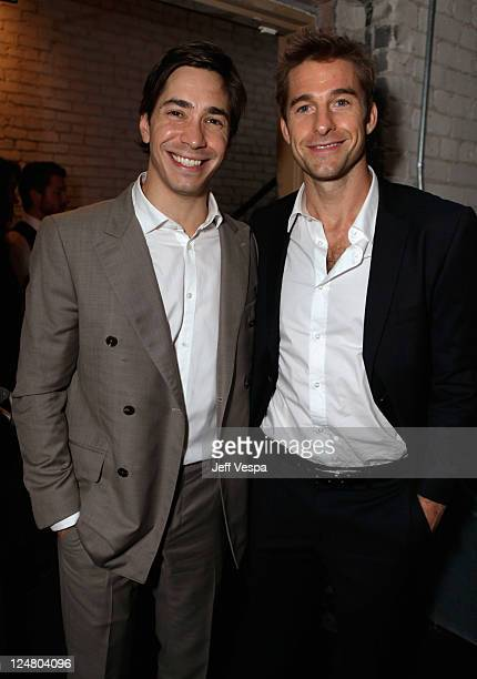 Actors Justin Long and Scott Speedman attend the 'Ten Year' dinner hosted by GREY GOOSE Vodka at Soho House Pop Up Club during the 2011 Toronto...