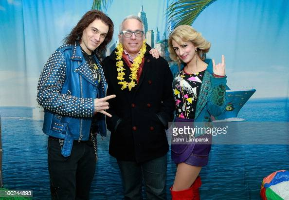 Actors Justin Matthew SargentTessa Alves of rock of Ages and Chef Geoffrey Zakarian attend the Norwegian Warming Station launch in Times Square on...
