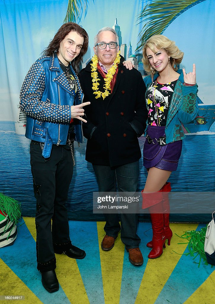 Actors Justin Matthew Sargent,Tessa Alves of rock of Ages and Chef (c) Geoffrey Zakarian attend the Norwegian Warming Station launch in Times Square on January 28, 2013 in New York City.
