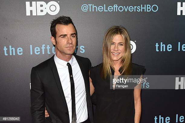 Actors Justin Theroux and Jennifer Aniston attend HBO's 'The Leftovers' Season 2 Premiere at Paramount Theatre on October 3 2015 in Austin Texas