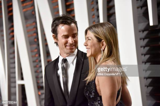 Actors Justin Theroux and Jennifer Aniston attend the 2017 Vanity Fair Oscar Party hosted by Graydon Carter at Wallis Annenberg Center for the...