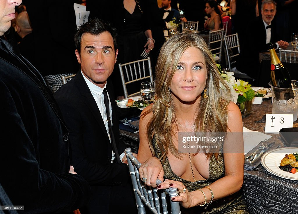 Actors Justin Theroux and Jennifer Aniston attend the 21st Annual Screen Actors Guild Awards at The Shrine Auditorium on January 25 2015 in Los...