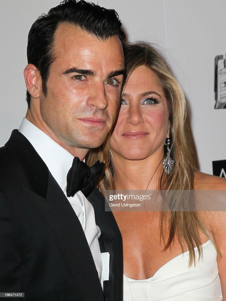 Actors <a gi-track='captionPersonalityLinkClicked' href=/galleries/search?phrase=Justin+Theroux&family=editorial&specificpeople=240634 ng-click='$event.stopPropagation()'>Justin Theroux</a> and <a gi-track='captionPersonalityLinkClicked' href=/galleries/search?phrase=Jennifer+Aniston&family=editorial&specificpeople=202048 ng-click='$event.stopPropagation()'>Jennifer Aniston</a> attend the 26th American Cinematheque Award Gala honoring Ben Stiller at The Beverly Hilton Hotel on November 15, 2012 in Beverly Hills, California.