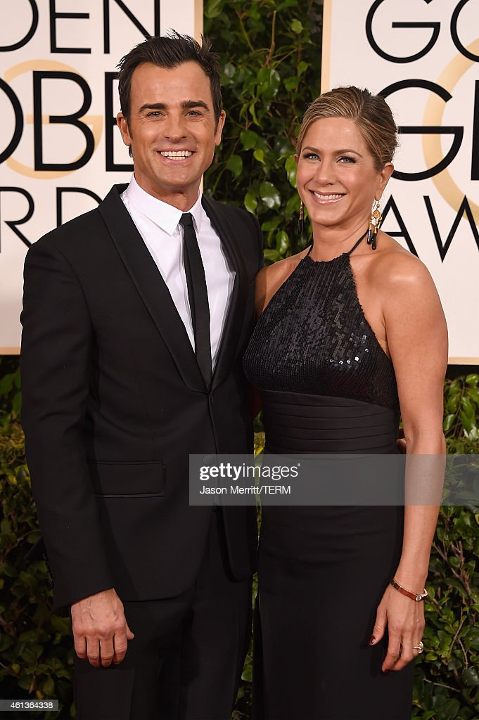 Actors Justin Theroux and Jennifer Aniston attend the 72nd Annual Golden Globe Awards at The Beverly Hilton Hotel on January 11, 2015 in Beverly Hills, California.