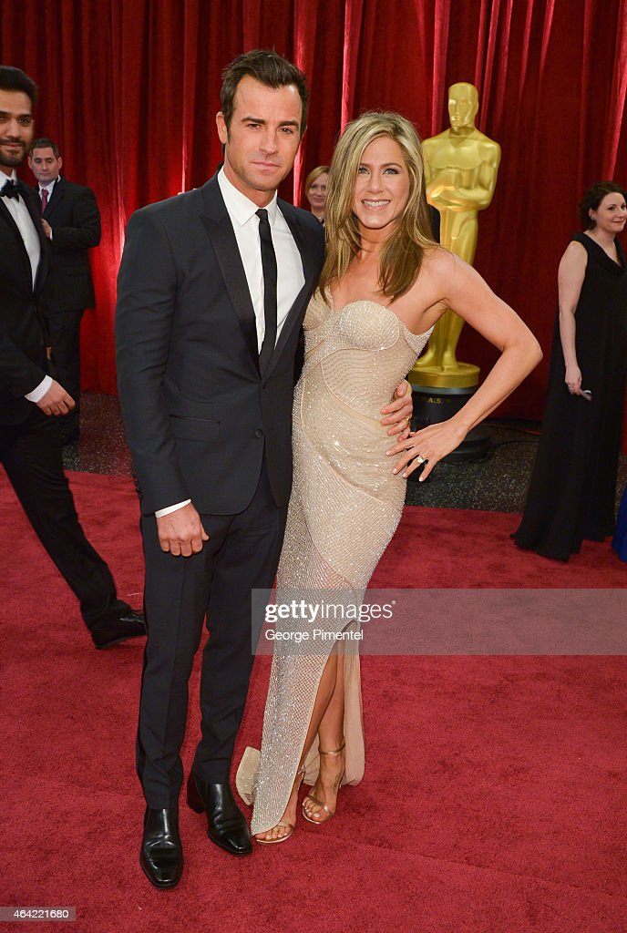 Actors Justin Theroux and Jennifer Aniston attend the 87th Annual Academy Awards at Hollywood & Highland Center on February 22, 2015 in Hollywood, California.