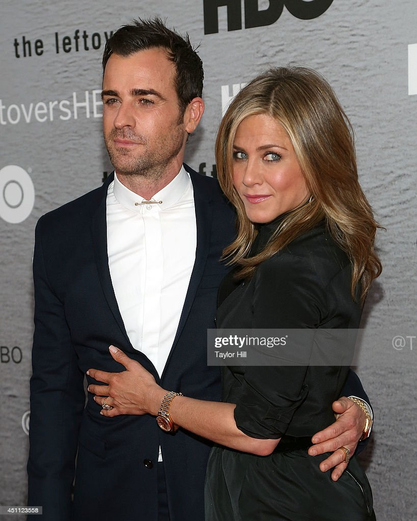 Actors <a gi-track='captionPersonalityLinkClicked' href=/galleries/search?phrase=Justin+Theroux&family=editorial&specificpeople=240634 ng-click='$event.stopPropagation()'>Justin Theroux</a> and <a gi-track='captionPersonalityLinkClicked' href=/galleries/search?phrase=Jennifer+Aniston&family=editorial&specificpeople=202048 ng-click='$event.stopPropagation()'>Jennifer Aniston</a> attend 'The Leftovers' premiere at NYU Skirball Center on June 23, 2014 in New York City.