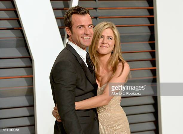Actors Justin Theroux and Jennifer Aniston attends the 2015 Vanity Fair Oscar Party hosted by Graydon Carter at Wallis Annenberg Center for the...