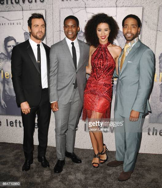 Actors Justin Theroux Jovan Adepo Jasmin Savoy Brown and Kevin Carroll attend the season 3 premiere of 'The Leftovers' at Avalon Hollywood on April 4...