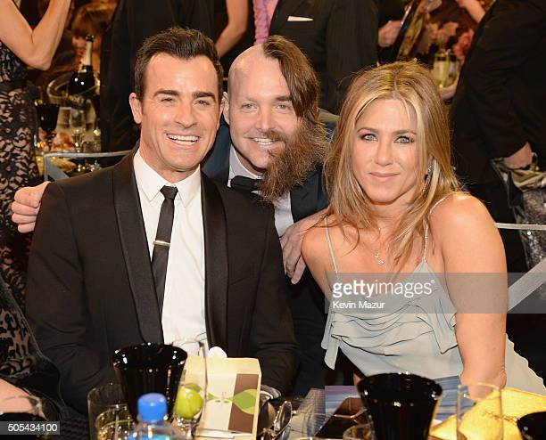Actors Justin Theroux Will Forte and Jennifer Aniston attend the 21st Annual Critics' Choice Awards at Barker Hangar on January 17 2016 in Santa...