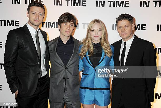 Actors Justin Timberlake Amanda Seyfried Cillian Murphy and director Andrew Niccol attend the UK Premiere of 'In Time' at the Curzon Mayfair on...