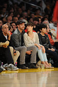 Actors Justin Timberlake and Jessica Biel attend a game between the Denver Nuggets and the Los Angeles Lakers in Game Seven of the Western Conference...
