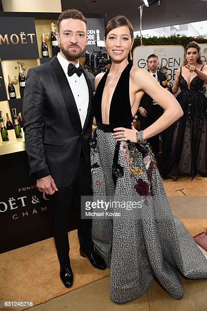 Actors Justin Timberlake and Jessica Biel attend the 74th Annual Golden Globe Awards at The Beverly Hilton Hotel on January 8 2017 in Beverly Hills...