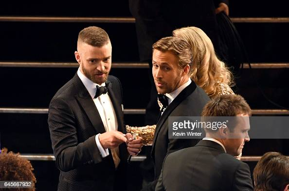 Actors Justin Timberlake and Ryan Gosling in the audience during the 89th Annual Academy Awards at Hollywood Highland Center on February 26 2017 in...