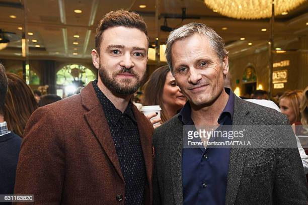 Actors Justin Timberlake and Viggo Mortensen attend The BAFTA Tea Party at Four Seasons Hotel Los Angeles at Beverly Hills on January 7 2017 in Los...