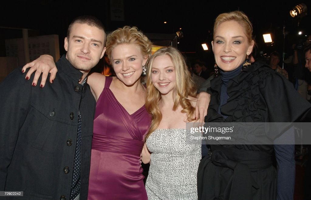 Actors Justin Timberlake, Dominique Swain, Amanda Seyfried and Sharon Stone attend the premiere of Universal Pictures' 'Alpha Dog' at the Cinerama Dome on January 3, 2007 in Hollywood, California.