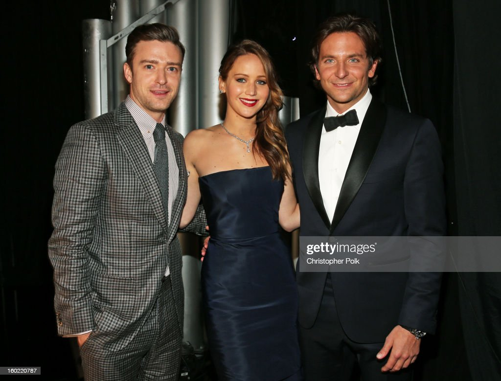 Actors Justin Timberlake, Jennifer Lawrence and Bradley Cooper attend the 19th Annual Screen Actors Guild Awards at The Shrine Auditorium on January 27, 2013 in Los Angeles, California. (Photo by Christopher Polk/WireImage) 23116_012_0922.jpg