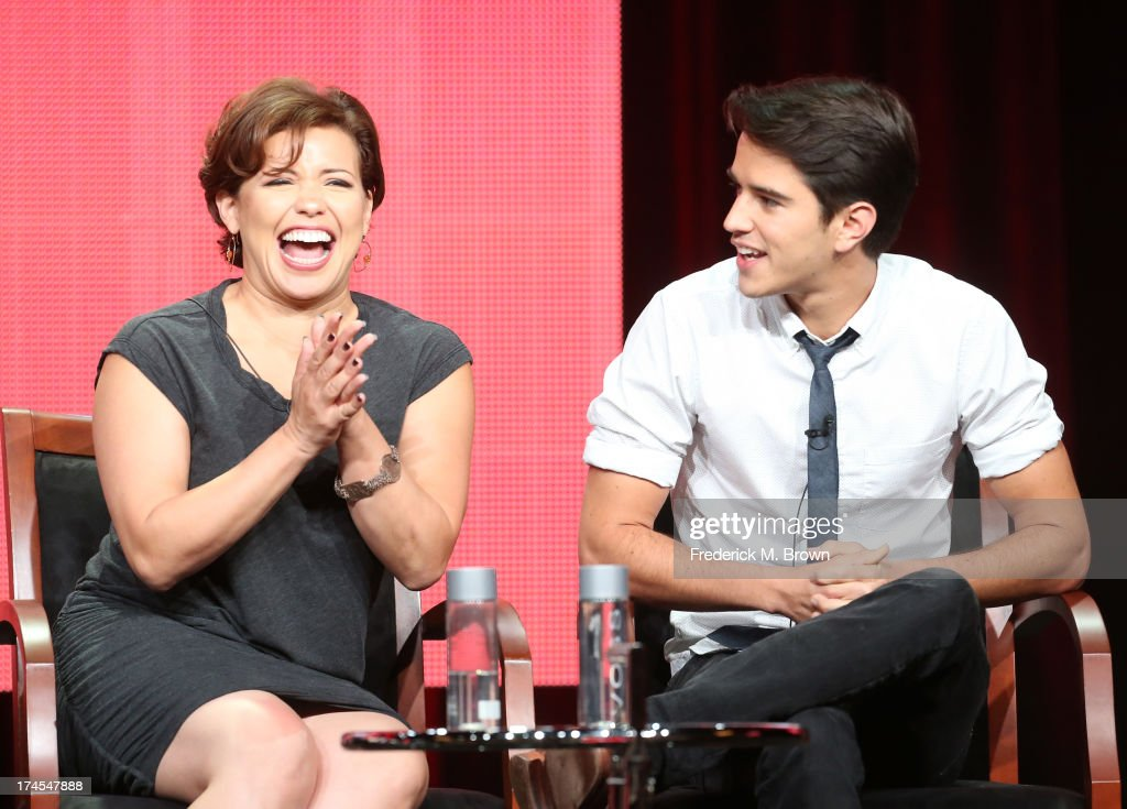 Actors Justina Machado and Joseph Haro speak onstage during the 'Welcome to the Family' panel discussion at the NBC portion of the 2013 Summer Television Critics Association tour - Day 4 at the Beverly Hilton Hotel on July 27, 2013 in Beverly Hills, California.