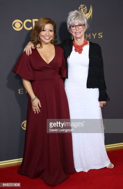 Actors Justina Machado and Rita Moreno attend the 69th Annual Primetime Emmy Awards Arrivals at Microsoft Theater on September 17 2017 in Los Angeles...