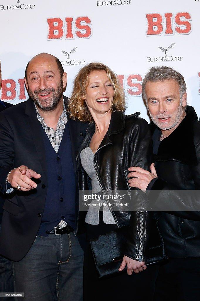 Actors Kad Merad, Alexandra Lamy and Franck Dubosc attend the 'Bis' Movie Paris Premiere at Cinema Gaumont Capucine on February 10, 2015 in Paris, France.