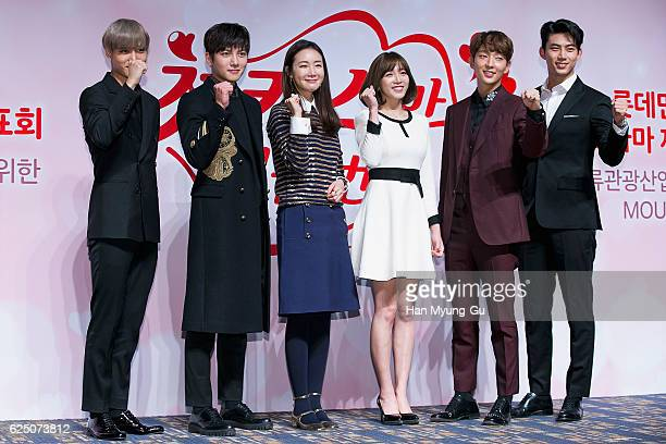 Actors Kai of boy band EXOK Ji ChangWook Choi JiWoo Lee ChoHee Lee JunKi and Taecyeon of South Korean boy band 2PM attend the press conference for...