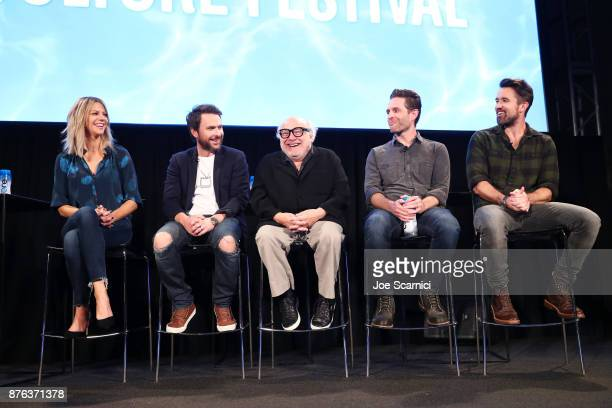Actors Kaitlin Olson actor Charlie Day actor Danny DeVito actor/producer Glenn Howerton and actor/producer Rob McElhenney speak onstage during the...