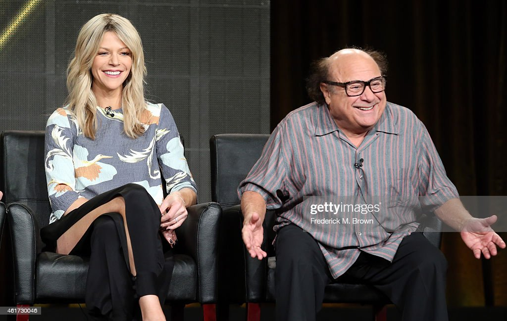 Actors Kaitlin Olson (L) and Danny DeVito speaks onstage during the 'It's Always Sunny in Philadelphia' panel discussion at the FX Networks portion of the Television Critics Association press tour at Langham Hotel on January 18, 2015 in Pasadena, California.