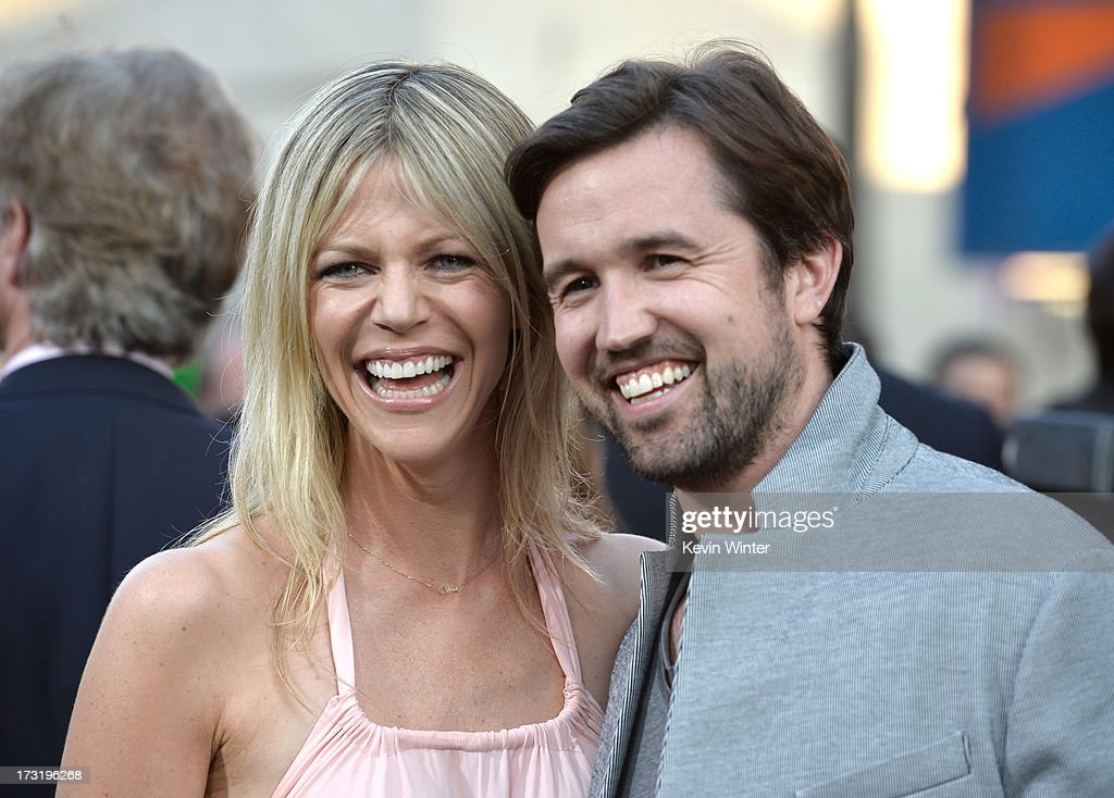 Actors <a gi-track='captionPersonalityLinkClicked' href=/galleries/search?phrase=Kaitlin+Olson&family=editorial&specificpeople=537734 ng-click='$event.stopPropagation()'>Kaitlin Olson</a> (L) and <a gi-track='captionPersonalityLinkClicked' href=/galleries/search?phrase=Rob+McElhenney&family=editorial&specificpeople=537737 ng-click='$event.stopPropagation()'>Rob McElhenney</a> arrive at the premiere of Warner Bros. Pictures' and Legendary Pictures' 'Pacific Rim' at Dolby Theatre on July 9, 2013 in Hollywood, California.