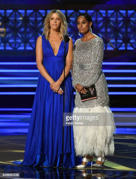Actors Kaitlin Olson and Tracee Ellis Ross speak onstage during the 69th Annual Primetime Emmy Awards at Microsoft Theater on September 17 2017 in...