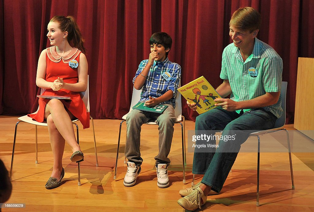 Actors Kaitlyn Dever, Karan Brar and <a gi-track='captionPersonalityLinkClicked' href=/galleries/search?phrase=Jack+McBrayer&family=editorial&specificpeople=4100664 ng-click='$event.stopPropagation()'>Jack McBrayer</a> read at the Screen Actors Guild Foundation 20 Years Of BookPALS celebration at West Hollywood City Council Chamber on May 11, 2013 in West Hollywood, California.