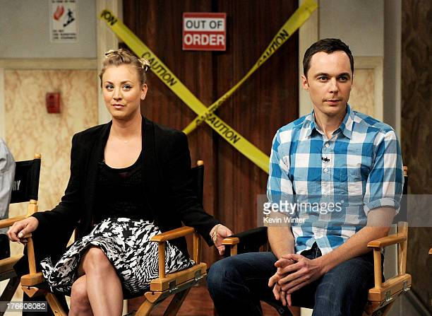 Actors Kaley Cuoco and Jim Parsons appear on the set of 'The Big Bang Theory' for a dialogue with members of The Academy of Television Arts and...