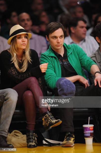 Actors Kaley Cuoco and Jim Parsons attend a game between the Portland Trail Blazers and the Los Angeles Lakers at Staples Center on March 23 2012 in...