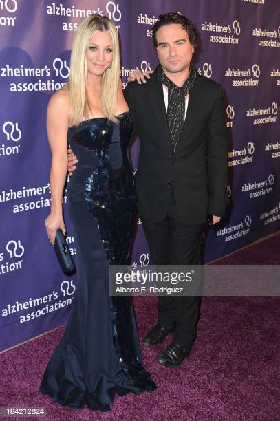 Actors Kaley Cuoco and Johnny Galecki arrive at 21st Annual 'A Night At Sardi's' gala benefiting the Alzheimer's Association Arrivals at The Beverly...