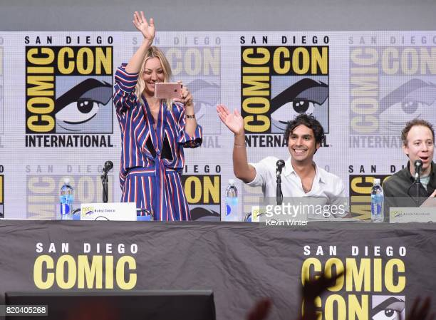 Actors Kaley Cuoco Kunal Nayyar and Kevin Sussman speak onstage at the 'The Big Bang Theory' panel during ComicCon International 2017 at San Diego...