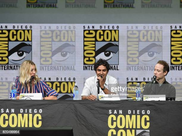Actors Kaley Cuoco Kunal Nayyar and Kevin Sussman speak onstage at ComicCon International 2017 'The Big Bang Theory' panel at San Diego Convention...