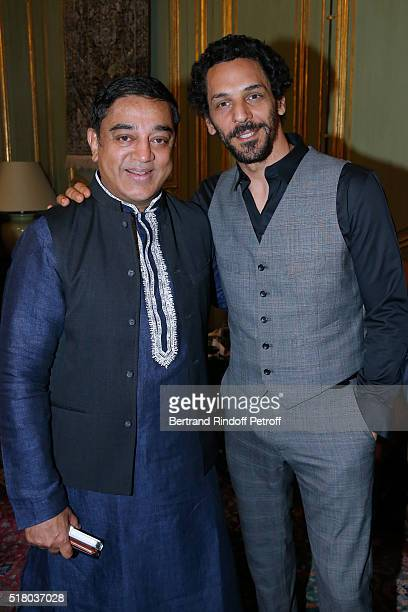 Actors Kamal Haasan and Tomer Sisley attend the Tribute to Indian actor and director Kamal Haasan during the 'International meetings of the Heritage...