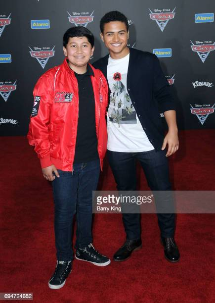 Actors Kamran Lucas and Nathaniel J Potvin attend the World Premiere of Disney and Pixar's 'Cars 3' at Anaheim Convention Center on June 10 2017 in...