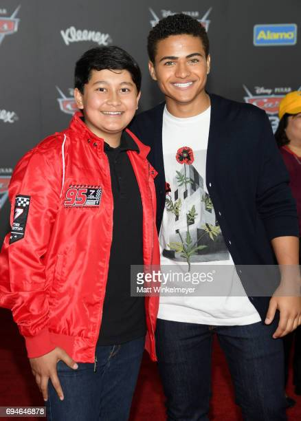 Actors Kamran Lucas and Nathaniel Potvin attend the premiere of Disney and Pixar's 'Cars 3' at Anaheim Convention Center on June 10 2017 in Anaheim...