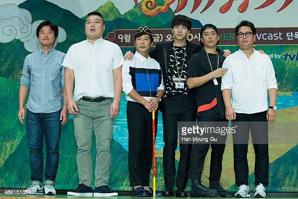 Actors Kang HoDong Lee SooGeun Lee SeungGi and Eun JiWon attend the tvN 'ShinSeoYuGi' press conference on September 1 2015 in Seoul South Korea The...