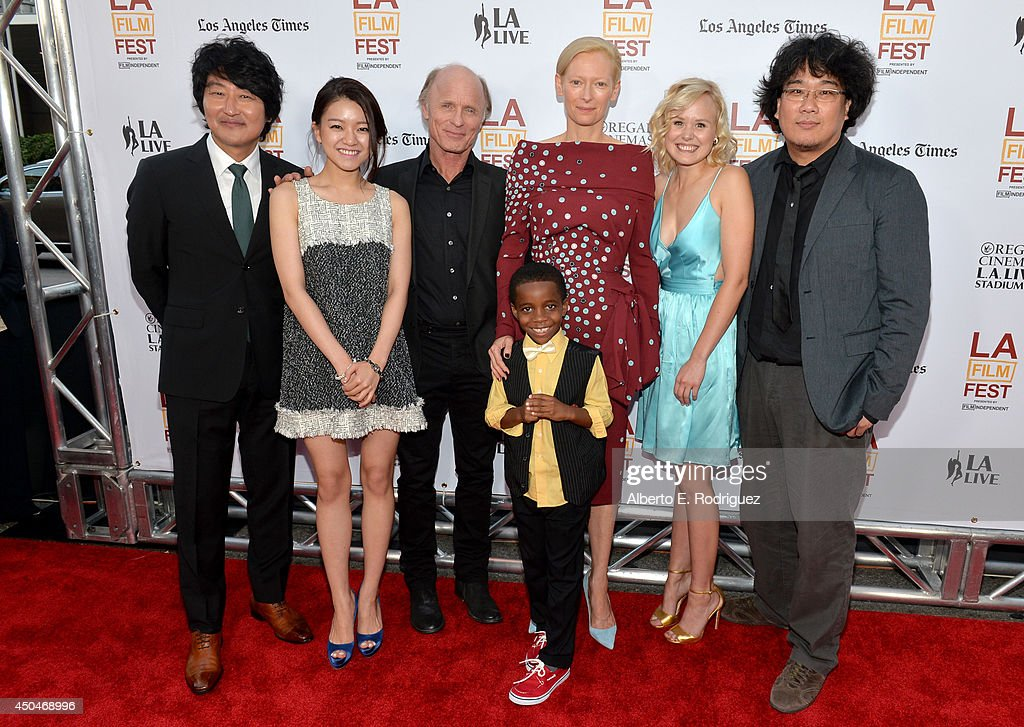 Actors Kang-ho Song, Ah-sung Ko, <a gi-track='captionPersonalityLinkClicked' href=/galleries/search?phrase=Ed+Harris&family=editorial&specificpeople=215262 ng-click='$event.stopPropagation()'>Ed Harris</a>, <a gi-track='captionPersonalityLinkClicked' href=/galleries/search?phrase=Tilda+Swinton&family=editorial&specificpeople=202991 ng-click='$event.stopPropagation()'>Tilda Swinton</a>, Marcanthonee Reis, <a gi-track='captionPersonalityLinkClicked' href=/galleries/search?phrase=Alison+Pill&family=editorial&specificpeople=585936 ng-click='$event.stopPropagation()'>Alison Pill</a> and director Joon-ho Bong attend the opening night premiere of 'Snowpiercer' during the 2014 Los Angeles Film Festival at Regal Cinemas L.A. Live on June 11, 2014 in Los Angeles, California.