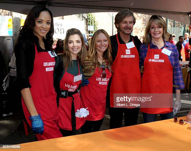 Actors Kara Royster Jen Lilley Marci Miller Stephen Nichols and Deidra Hall at the Los Angeles Mission Thanksgiving Meal For The Homeless held at Los...
